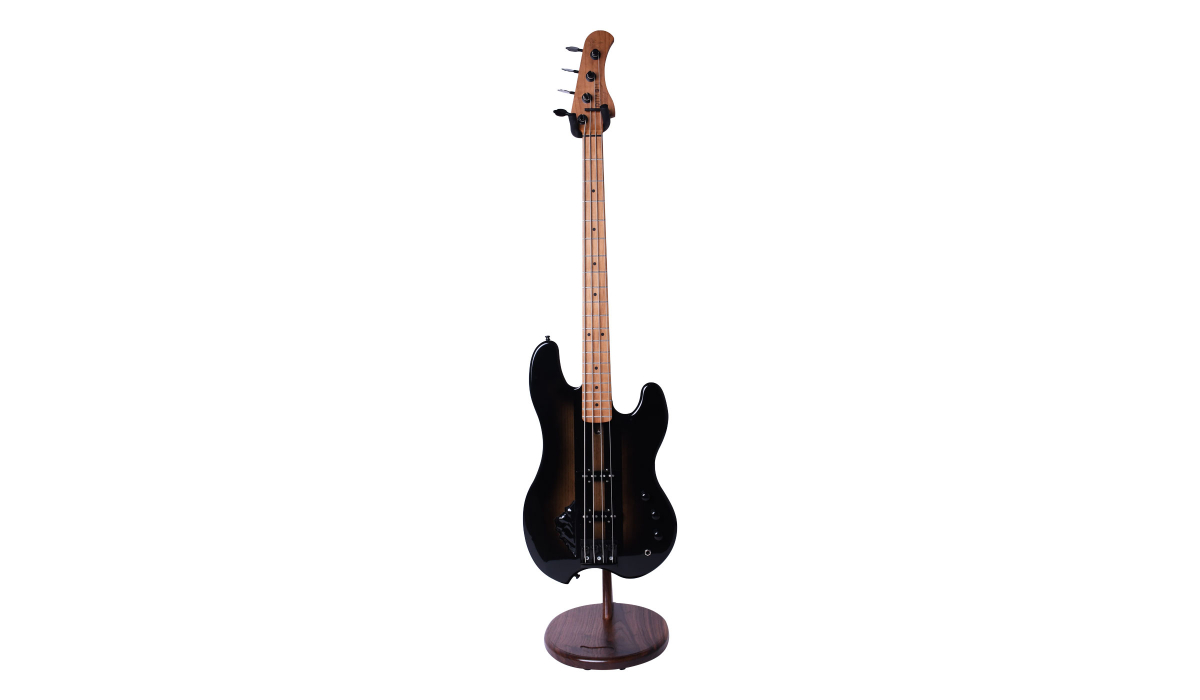 Electric-bass-guitar-stand-walnut-hardwood-6