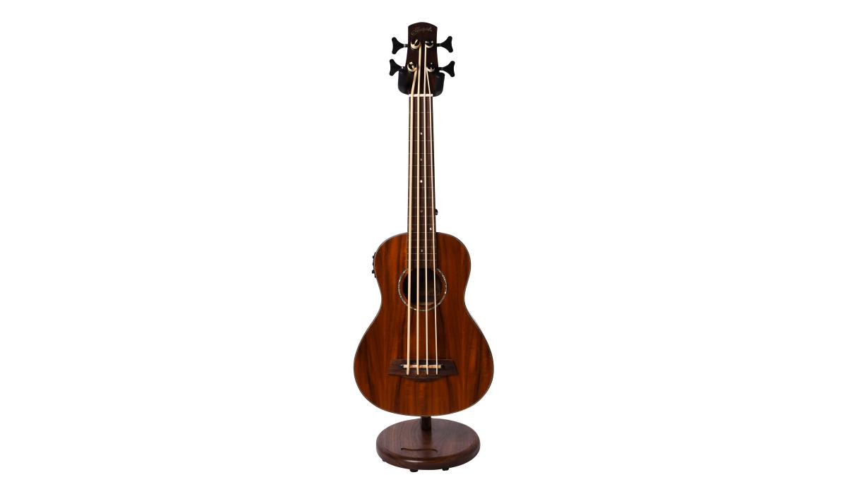 Electric-Ukelele-guitar-stand-walnut-hardwood-1