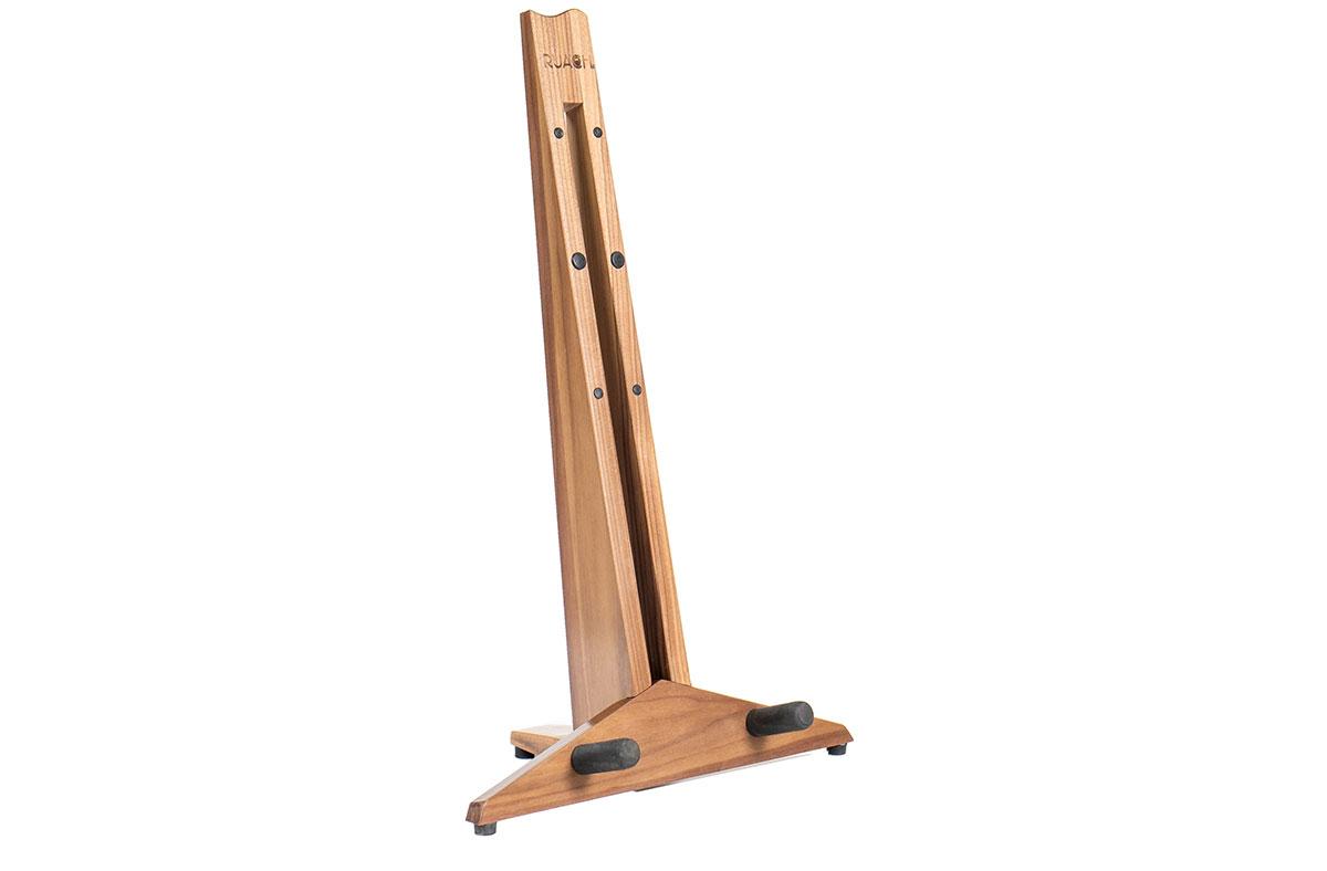 ruach-magnetic-foldable-foldaway-take-apart-transportable-studio-home-living-guitar-stand-hardwood-wooden-click-together-handmade-walnut-dark